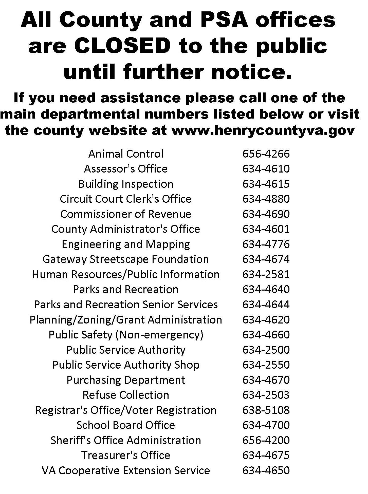 All County and PSA Offices Closed to the Public  Henry County Virginia